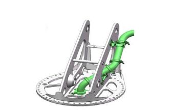 【外置输送管拓扑高强转台】1.中心输送管外置,管道更换维护便捷性大幅提升; 2.厚立板简化转台结构,结构优化使峰值应力降低,并提升自动焊比例,保证制造可靠性。