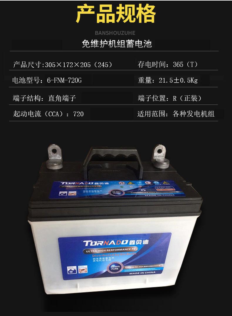 发电机组专用电池6-FNM-720G
